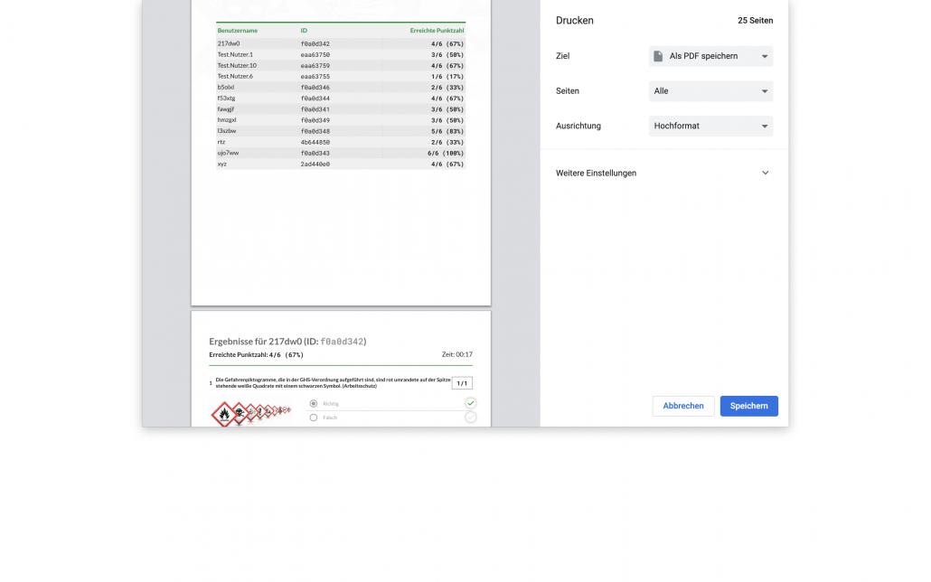 Ergebnisse Prüfung:Wettbewerb PDF speichern