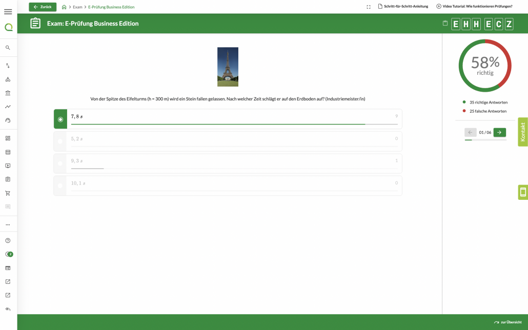 Wettbewerb mit Bestenlisten Fragenauswertung Einzeln 2